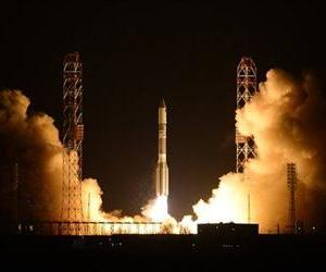 A Russian Proton booster rocket blasts off from the Russian-leased Baikonur cosmodrome in Kazakhstan on March 26, 2013.
