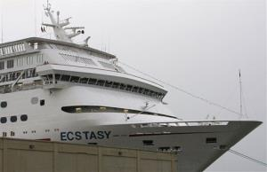 The Carnival Cruise ship Ecstasy is shown after returning to Galveston, Texas Thursday, July 5, 2007.