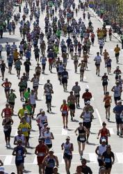 Runners approach the finish line of last year's Boston Marathon.