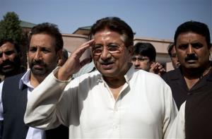 Pervez Musharraf arrives to present party manifesto leaflets to candidates in Islamabad, Pakistan, Monday, April 15, 2013. Musharraf was disqualified from upcoming elections today.