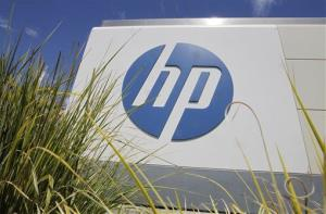 The Hewlett-Packard Co. logo is seen outside the company's headquarters in Palo Alto, Calif.