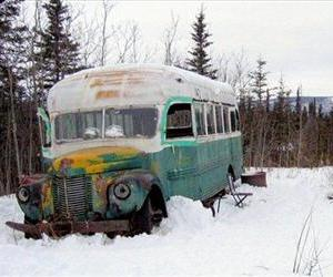 The abandoned bus where Christopher McCandless starved to death in 1992 is seen in this March 21, 2006, photo on the Stampede Road near Healy, Alaska. The incident was made famous by Into the Wild.