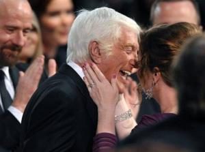 Dick Van Dyke celebrates winning the Screen Actors Guild Life Achievement Award with Arlene Silver at the 19th Annual Screen Actors Guild Awards at the Shrine Auditorium in Los Angeles on Sunday Jan. 27, 2013.