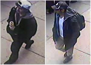 A combination image of the suspects made by the Associated Press.