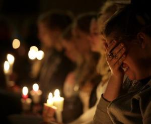 Mourners attend a service at St. Mary's Church of the Assumption Thursday, April 18, 2013, a day after an explosion at a fertilizer plant in West, Texas.