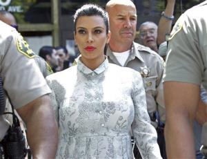 Kim Kardashian leaves Los Angeles County Superior Court after a hearing in her divorce from Kris Humphries, Friday, April 12, 2013.