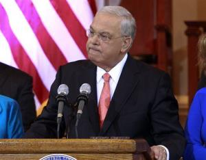 Boston Mayor Tomas Menino pauses as he speaks at Faneuil Hall in Boston, Thursday, March 28, 2013.