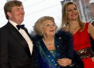 Queen Beatrix, center, Crown Prince Willem Alexander, left, and his Argentina-born wife Princess Maxima, right.
