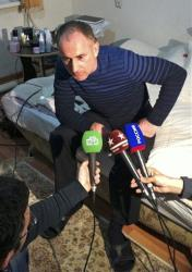 The father of the Boston bomb suspects, Anzor Tsaraev, speaks to the media at his home in Makhachkala, the capital of Dagestan, a predominantly Muslim republic in southern Russia, April 19, 2013.