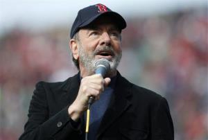Neil Diamond sings Sweet Caroline in the eighth inning of a baseball game between the Boston Red Sox and the Kansas City Royals in Boston, Saturday, April 20, 2013.