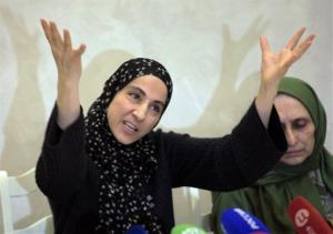The mother of the two Boston bombing suspects, Zubeidat Tsarnaeva, speaks at a news conference in Makhachkala, the southern Russian province of Dagestan, Thursday, April 25, 2013.