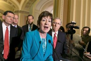 Sen. Susan Collins, R-Maine, joins the Senate GOP leadership during a news conference on Capitol Hill in Washington, Tuesday, April 23, 2013.
