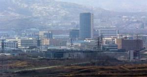 Kaesong industrial complex in North Korea is seen from near the border village of Panmunjom, that has separated the two Koreas since the Korean War, on Wednesday, April 10, 2013.
