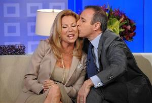 Today Show host Matt Lauer kisses Kathie Lee Gifford on during the announcement of her co-hosting duties of the fourth hour of The Today Show on Monday, March 31, 2008, in New York.