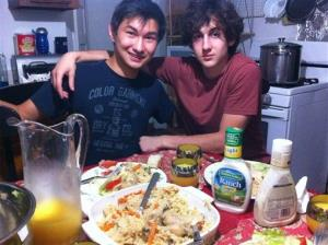 This undated photo shows Dias Kadyrbayev, left, with Boston Marathon bombing suspect Dzhokhar Tsarnaev, at an unknown location.