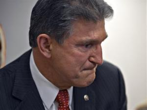 Sen. Joe Manchin becomes emotional as he meets with families of victims of the Sandy Hook Elementary School shooting, Wednesday, April 10, 2013.