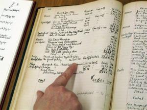In this Tuesday, March 26, 2013 photo, a ledger owned by author F. Scott Fitzgerald. The University of South Carolina has digitized the ledger and put it online for scholars.