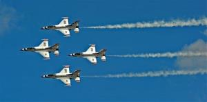 The Air Force Thunderbirds, seen here the Air Expo 2012 at Joint Base Lewis McChord, Wash., were grounded April 1.