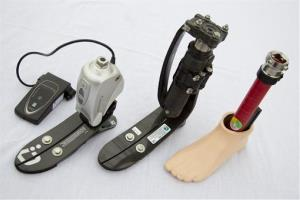 A microprocessor controlled ankle/foot prosthetic, a shock foot vertical loading pylon prosthetic and a flexible keel foot prosthetic  are displayed at the Orthotic Prosthetic Center in Fairfax, Va.