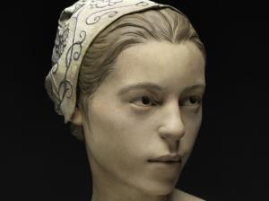 The reconstructed face of a teenage girl thought to have been cannibalized at Jamestown.