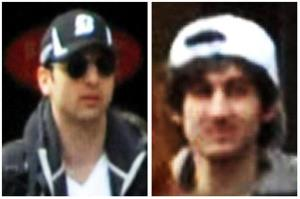 This combo of photos shows the Tsarnaev brothers at the Boston Marathon.