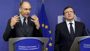 Italian Prime Minister Enrico Letta, left, speaks as European Commission President Jose Manuel Barroso listens during a press conference at EU headquarters in Brussels on Thursday, May 2, 2013.