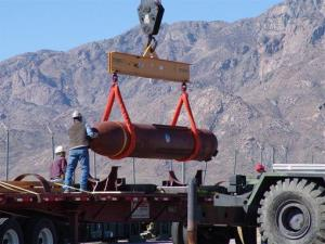 Crews loading the massive ordnance penetrator in a test at White Sands Missile Range in southern New Mexico.