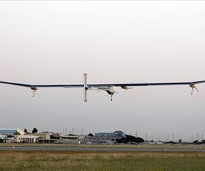 The Solar Impulse plane takes off on a multi-city trip across the United States from Moffett Field NASA Ames Research Center in Mountain View, Calif., May 3, 2013.