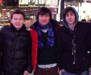 This undated photo shows, from left, Azamat Tazhayakov and Dias Kadyrbayev with Dzhokhar Tsarnaev in Times Square.