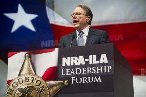 NRA Executive Vice President and Chief Executive Officer Wayne LaPierre speaks during the leadership forum at the National Rifle Association's annual meeting Friday, May 3, 2013 in Houston.