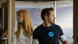 Gwyneth Paltrow as Pepper Potts and Robert Downey Jr. as Tony Stark/Iron Man, in Iron Man 3.