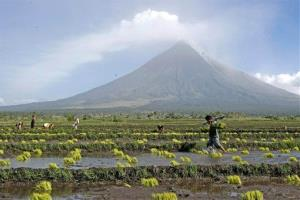 The Mayon volcano before the latest eruption.