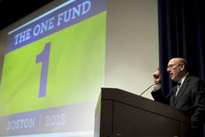 Administrator Kenneth Feinberg delivers an opening statement at The One Fund town hall meeting at the Boston Public Library, in Boston, May 6, 2013.