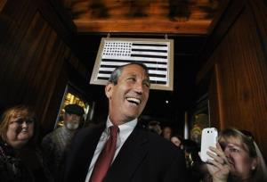Former South Carolina Gov. Mark Sanford arrives to give his victory speech on Tuesday, May 7, 2013. Sanford won back his old congressional seat in the state's 1st District in a special election.