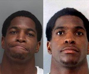 This combo image shows each of Titus Young's mugshots from Sunday.