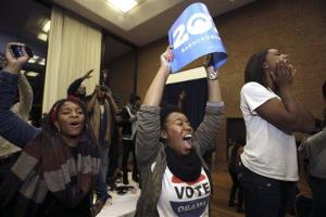 Students at Howard University celebrate as President Obama collects the necessary electoral college votes to win re-election.