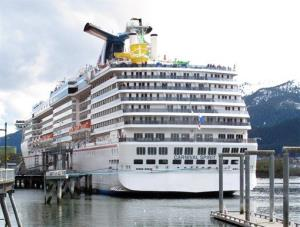In this May 3, 2012 file photo, the first cruise ship of the season, the Carnival Spirit in Juneau, Alaska.