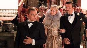 From left, Leonardo DiCaprio as Jay Gatsby, Carey Mulligan as Daisy Buchanan, and Joel Edgerton as Tom Buchanan in The Great Gatsby, a Warner Bros. Pictures release.