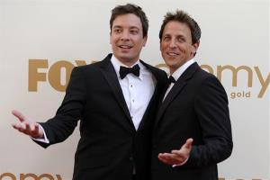 Jimmy Fallon and Seth Meyers arrives at the 63rd Primetime Emmy Awards on Sunday, Sept. 18, 2011 in Los Angeles.