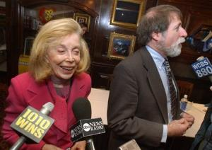 FILE - In this  2004 file photo, psychologist Dr. Joyce Brothers, left, is interviewed at a news conference in New York.