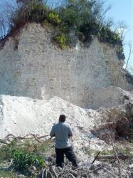 The damaged sloping sides of the Nohmul complex, one of Belize's largest Mayan pyramids, are visible in this image released by Jaime Awe, head of the Belize Institute of Archaeology.