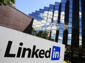In this Monday, May 9, 2011 file photo, LinkedIn Corp., the professional networking Web site, displays its logo outside of headquarters in Mountain View, Calif.