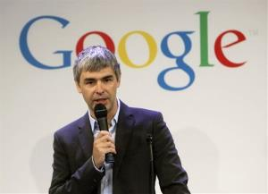 Google CEO Larry Page speaks at a news conference at the Google offices in New York last year.