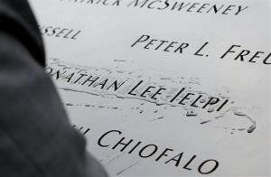 Names of victims are shown at the 9/11 Memorial in New York.