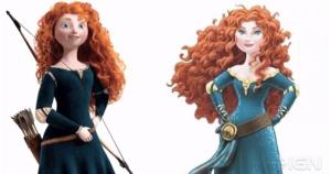 Original Merida (left) and the character after Disney's ill-received makeover.