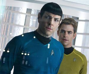 Zachary Quinto, left, as Spock and Chris Pine as Kirk are seen in a scene from Star Trek Into Darkness, from Paramount Pictures and Skydance Productions.