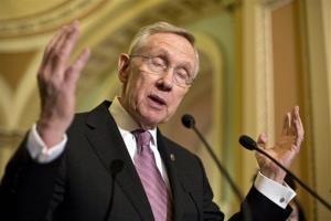 Senate Majority Leader Harry Reid speaks with reporters on May 7.
