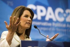 Rep. Michele Bachmann, R-Minn. gestures as she speaks at the 40th annual Conservative Political Action Conference in National Harbor, Md., Friday, March 15, 2013.