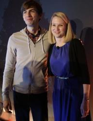 Yahoo CEO Marissa Mayer, right, and Tumblr Chief Executive David Karp pose for photographs after a news conference Monday, May 20, 2013, in New York.
