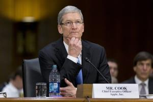 Apple CEO Tim Cook testifies on Capitol Hill in Washington before the Senate Homeland Security and Governmental Affairs Permanent subcommittee on Investigations.